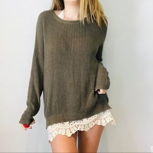 UO green chunky knit lace trim oversized sweater